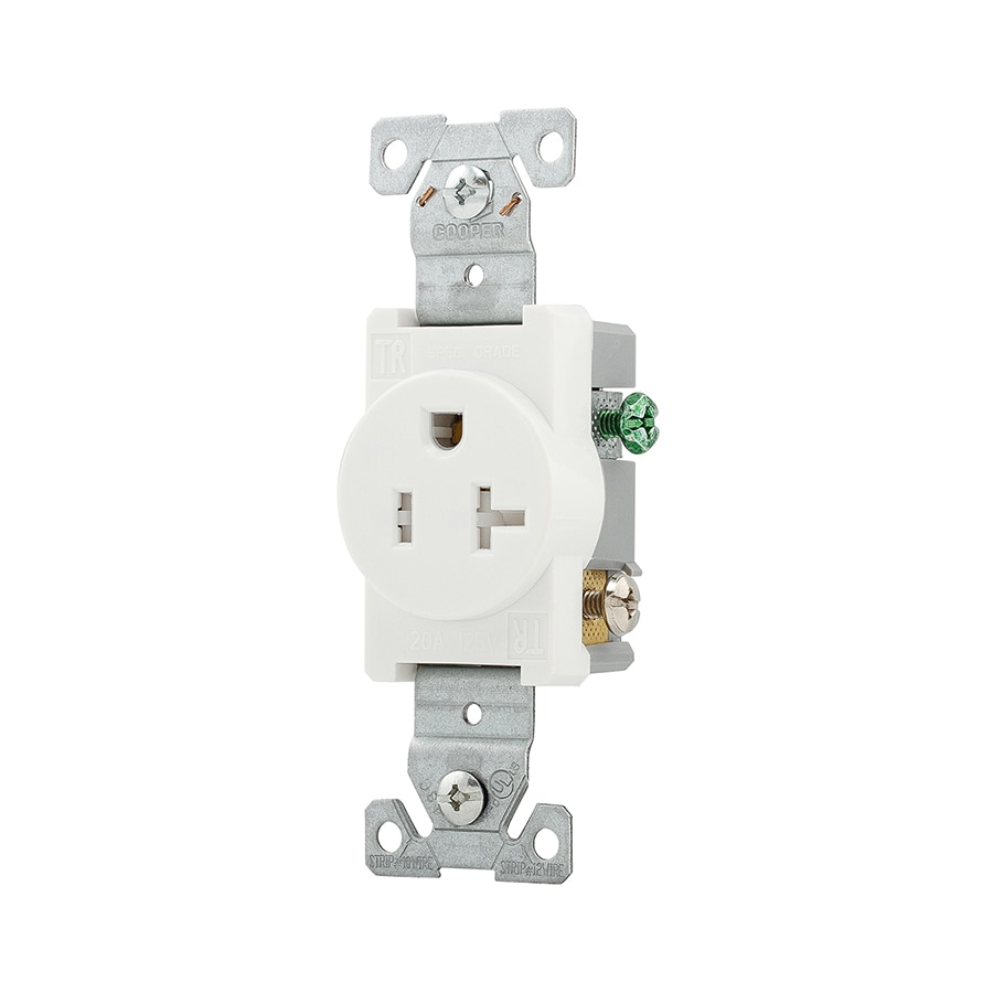 Shop Eaton White 20 Amp Round Outlet Residential Commercial At Wiring Diagram Further Electrical In Wall Plate Sold Separately