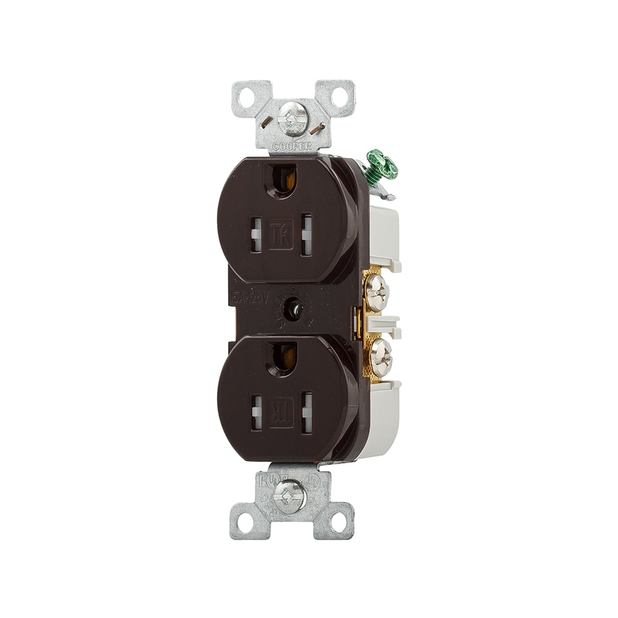 Eaton 15-Amp 125-Volt Brown Indoor Duplex Wall Tamper Resistant Outlet