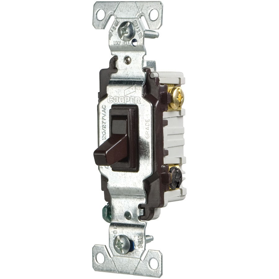 Eaton 15-amp 3-way Brown Toggle Light Switch