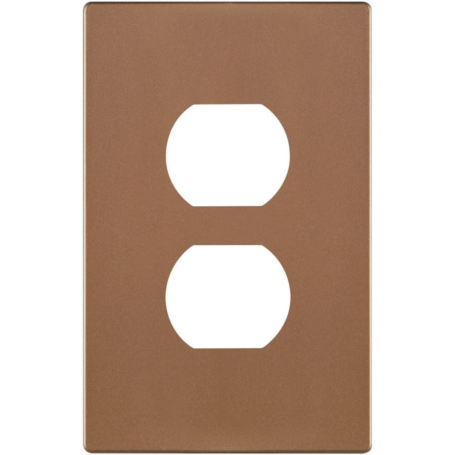 Eaton 1-Gang Brushed Bronze Single Duplex Wall Plate