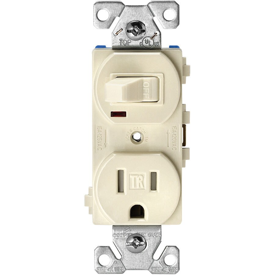 Eaton 15-Amp 125-Volt Light Almond Indoor Duplex Wall Tamper Resistant Outlet/Switch