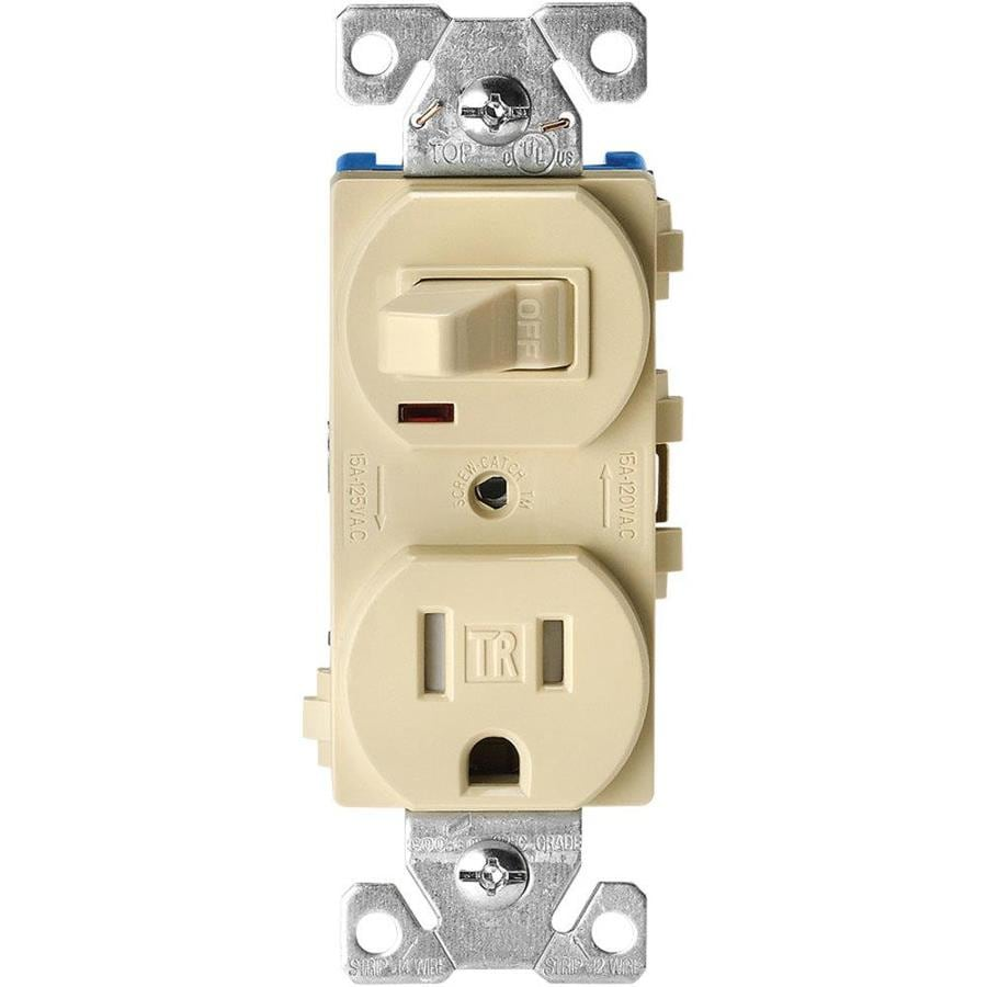 Eaton 15-Amp 125-Volt Ivory Indoor Duplex Wall Tamper Resistant Outlet/Switch