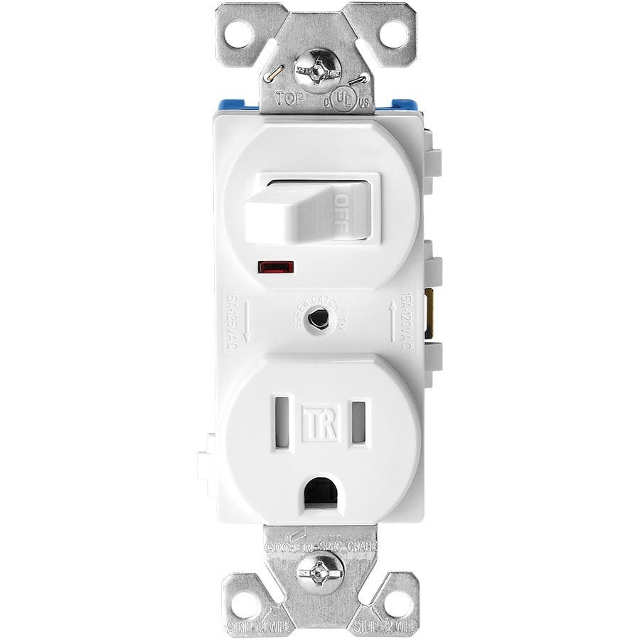 Eaton 15-Amp 125-Volt White Indoor Duplex Wall Tamper Resistant Outlet/Switch