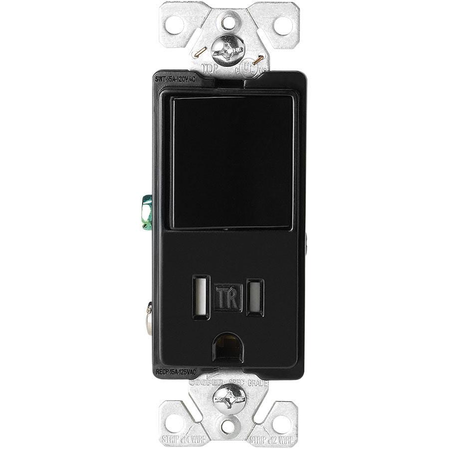 Eaton 15-Amp 125-Volt Black Indoor Decorator Wall Tamper Resistant Outlet/Switch