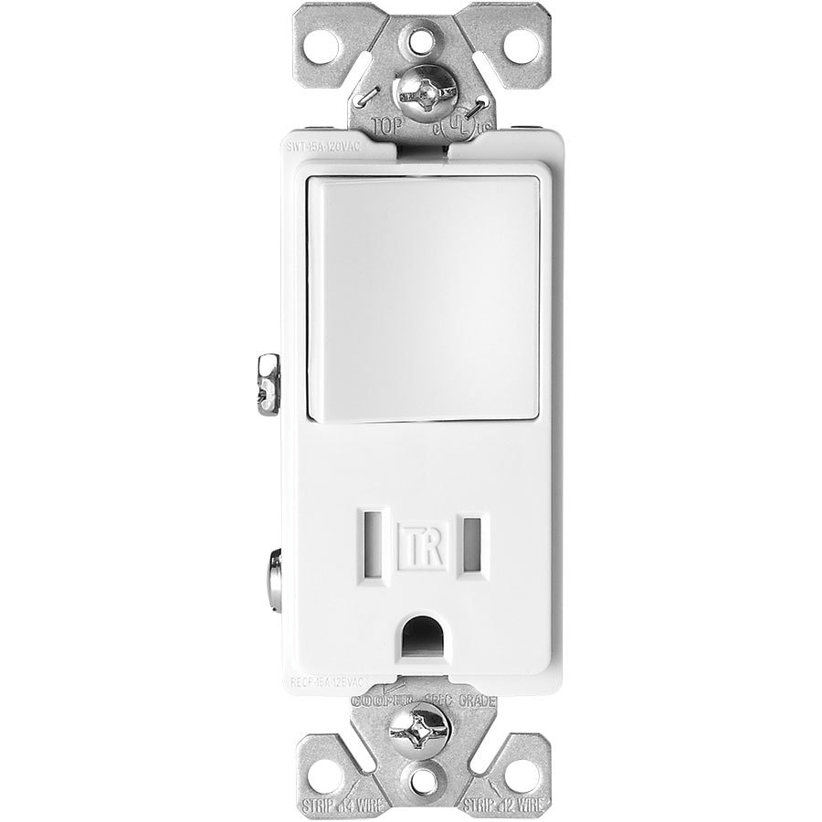 Eaton 15-Amp 125-Volt White Indoor Decorator Wall Tamper Resistant Outlet/Switch