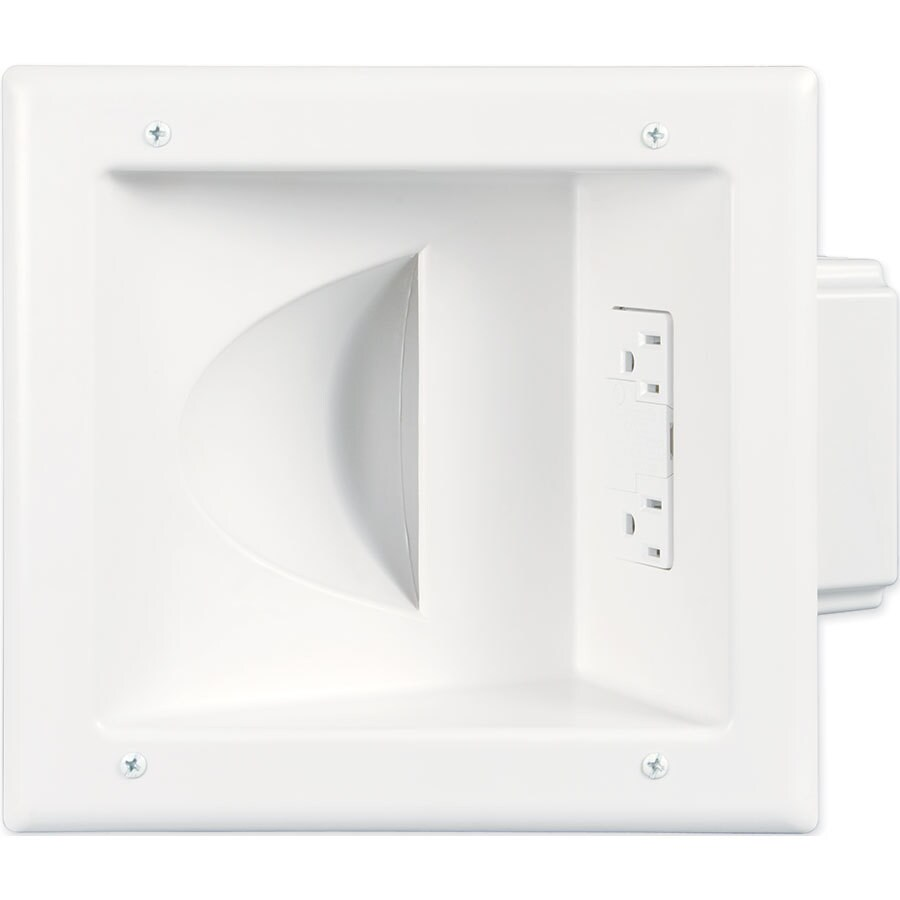 Shop Eaton 2 Gang White Recessed Cable Access Wall Plate At Av Wiring Plates