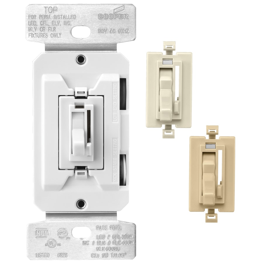 Single Pole Light Switch Wires Color Wire Center 3 Dimmer Wiring Diagram Shop Eaton 600 Watt Way White Almond Ivory Rh Lowes Com