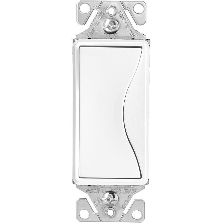 Eaton ASPIRE 15-Amp Single Pole Alpine White Indoor Rocker Light Switch