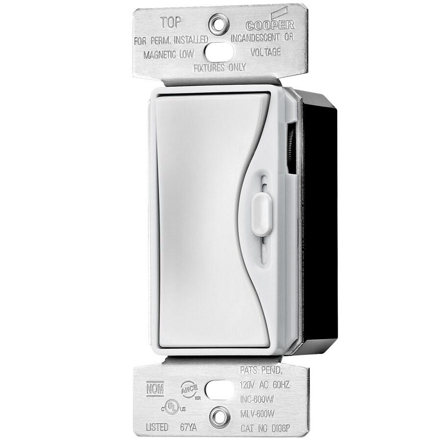 Eaton ASPIRE 600-Watt Single Pole 3-Way Alpine White Rocker Dimmer