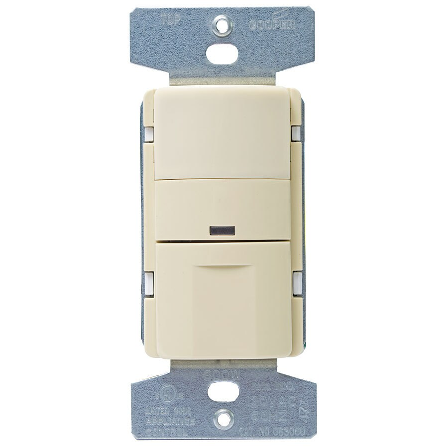 Eaton 600-Watt 3-Way Single Pole Ivory Indoor Push Occupancy Sensor