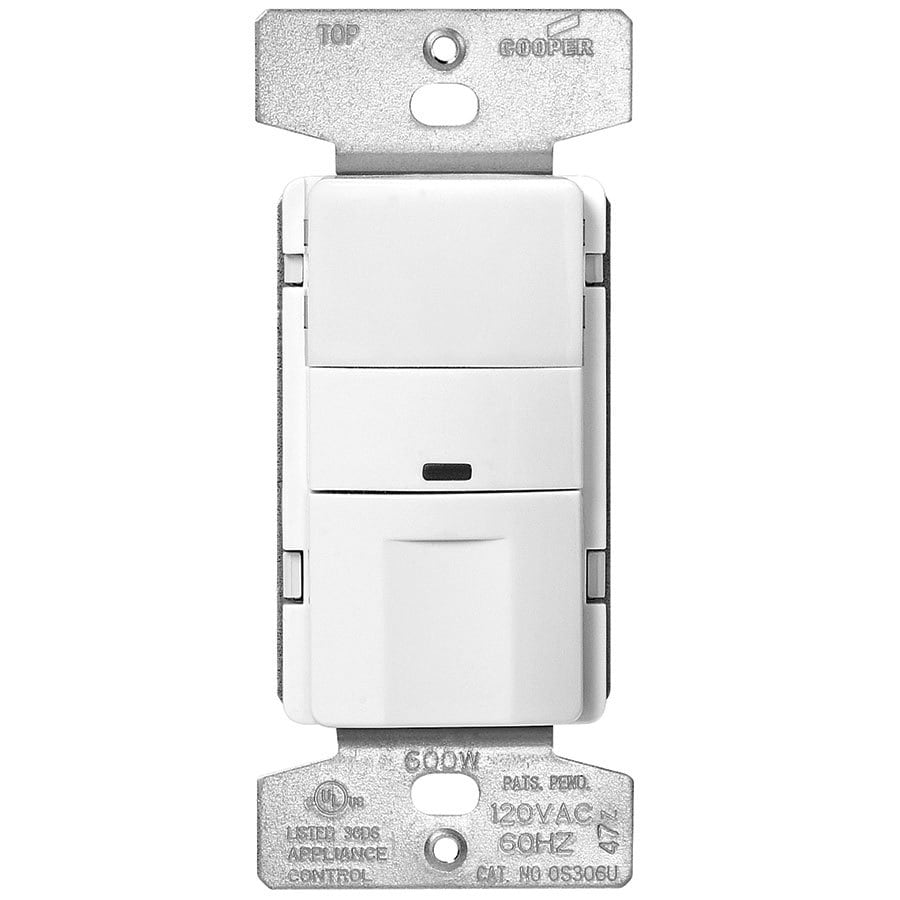 Shop Eaton 600watt Single Pole 3way White Push Indoor Occupancy