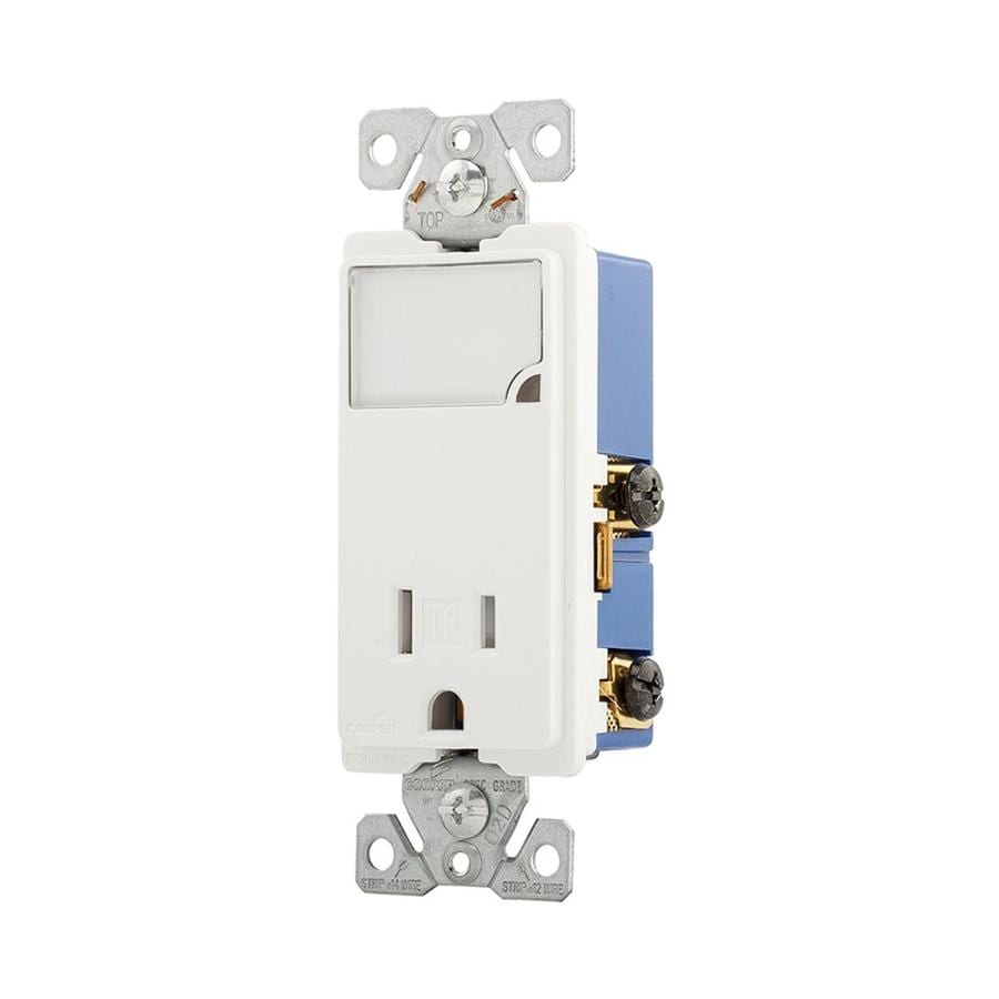 Eaton 15-Amp 125-Volt White Indoor Decorator Wall Tamper Resistant Outlet