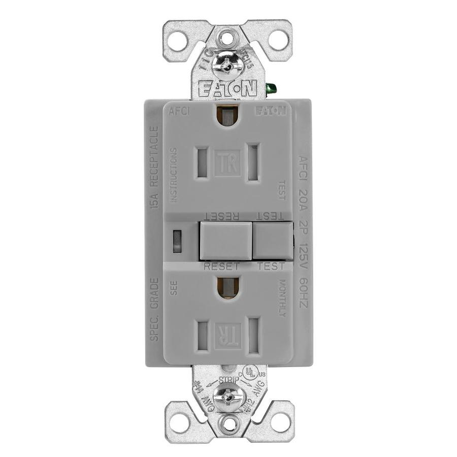 Home Decorators Outlet Locations: Eaton Gray 15-Amp Decorator Outlet AFCI Residential