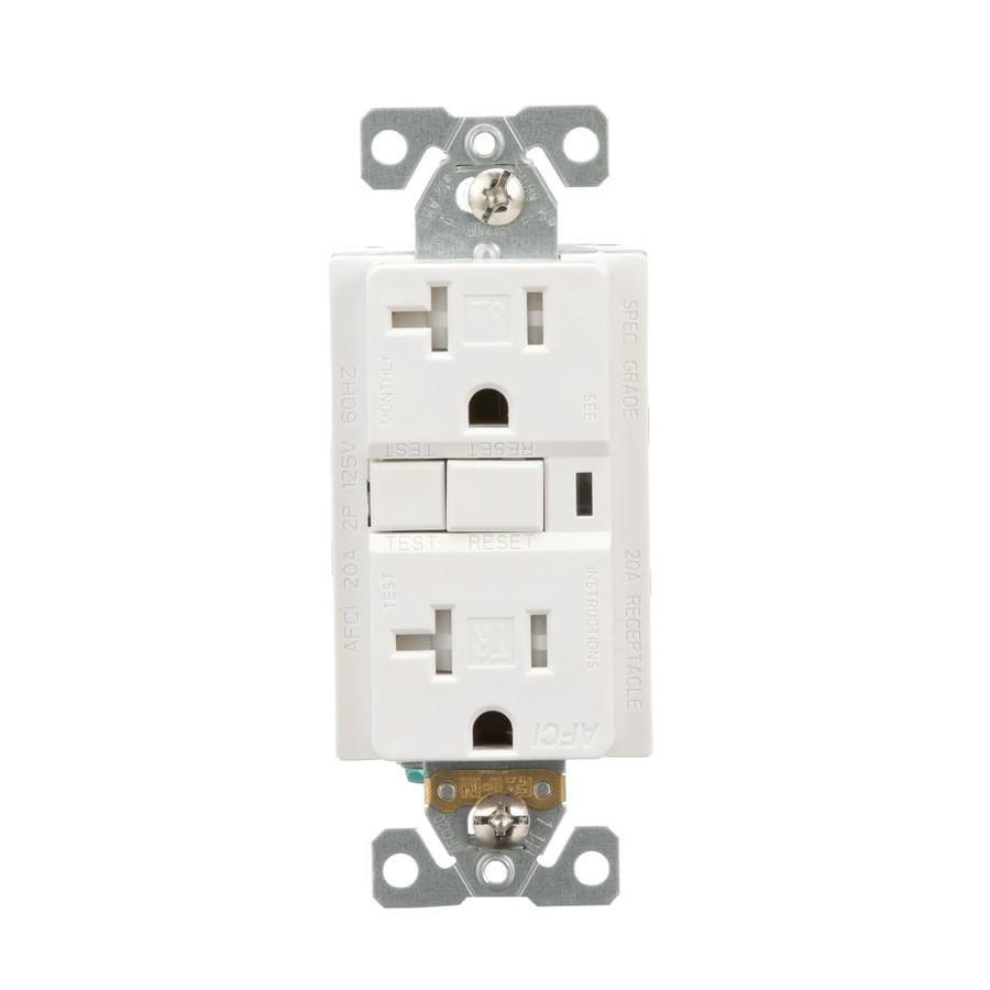 Eaton 20-Amp 125-Volt White Indoor Afci Decorator Wall Tamper Resistant Outlet
