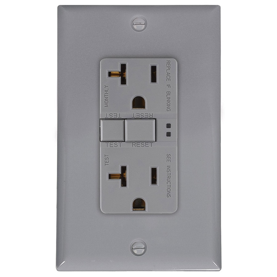 Eaton 20-Amp 125-Volt Gray Indoor GFCI Decorator Wall Outlet