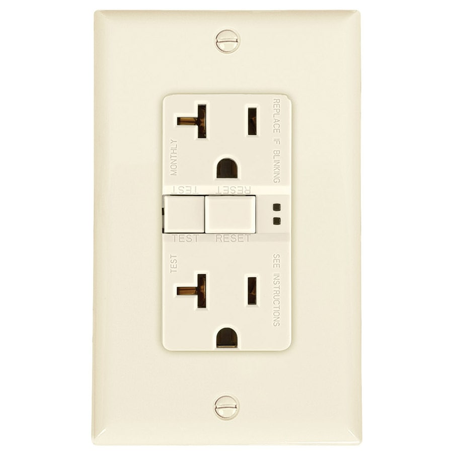 Eaton 20-Amp 125-Volt Light Almond Indoor GFCI Decorator Wall Outlet