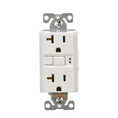 Eaton White 20-Amp Decorator GFCI Residential Outlet at