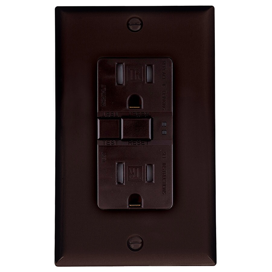 Eaton 15-Amp 125-Volt Brown Indoor GFCI Decorator Wall Tamper Resistant Outlet
