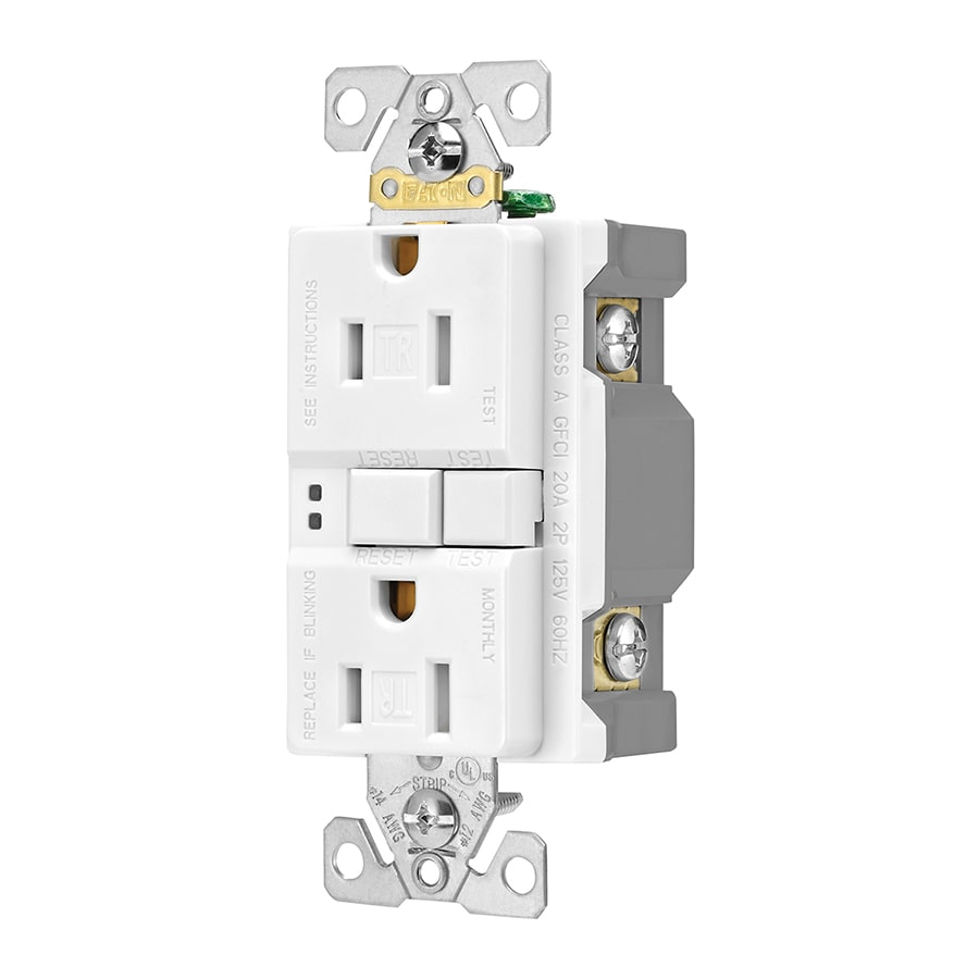Eaton 3-Pack 15-Amp 125-Volt White GFCI Decorator Tamper Resistant Electrical Outlet