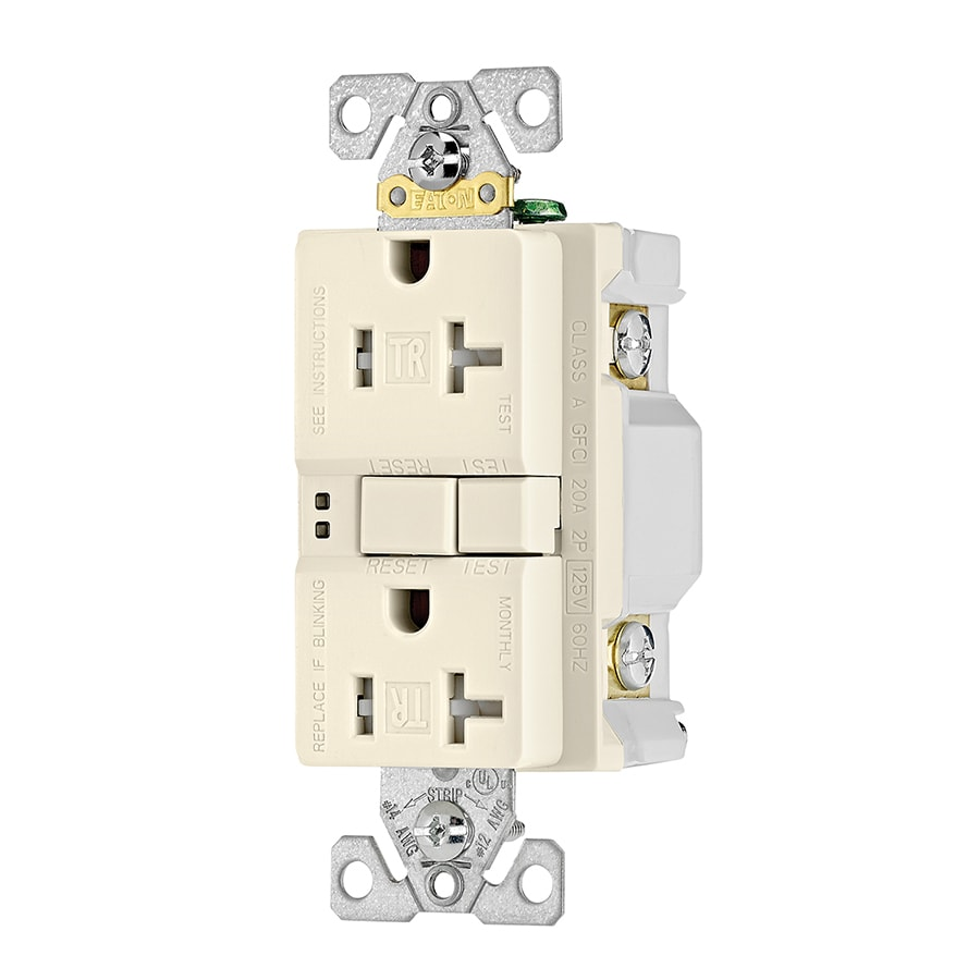 Eaton Light Almond 20 Amp Decorator Outlet Gfci Protection