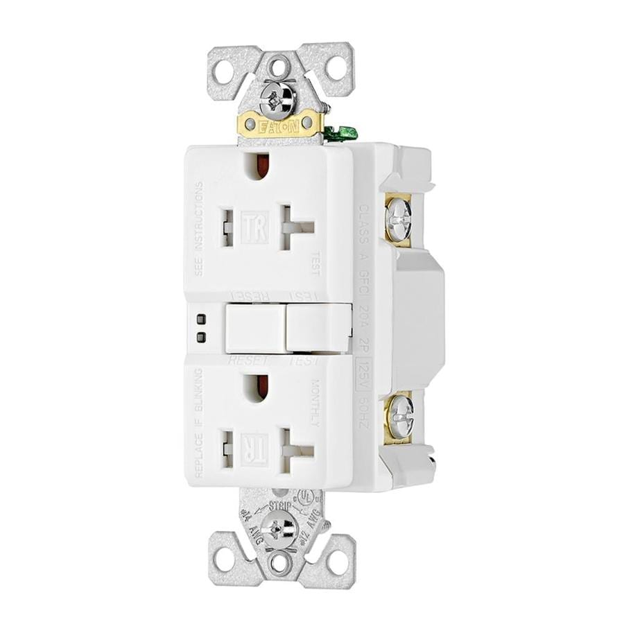 Eaton 3-Pack 20-Amp 125-Volt White Indoor GFCI Decorator Wall Tamper Resistant Outlet