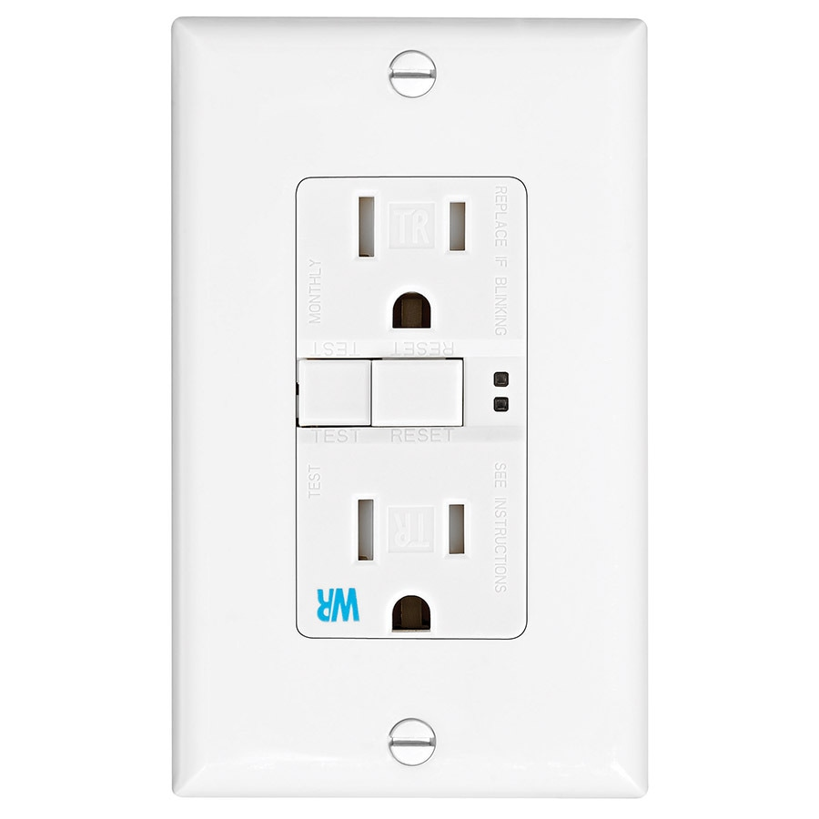 Eaton 15-Amp 125-Volt White Outdoor GFCI Decorator Wall Tamper Resistant Outlet