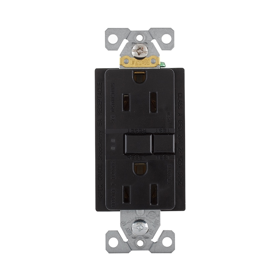 Eaton 15-Amp 125-Volt Black Indoor GFCI Decorator Wall Outlet