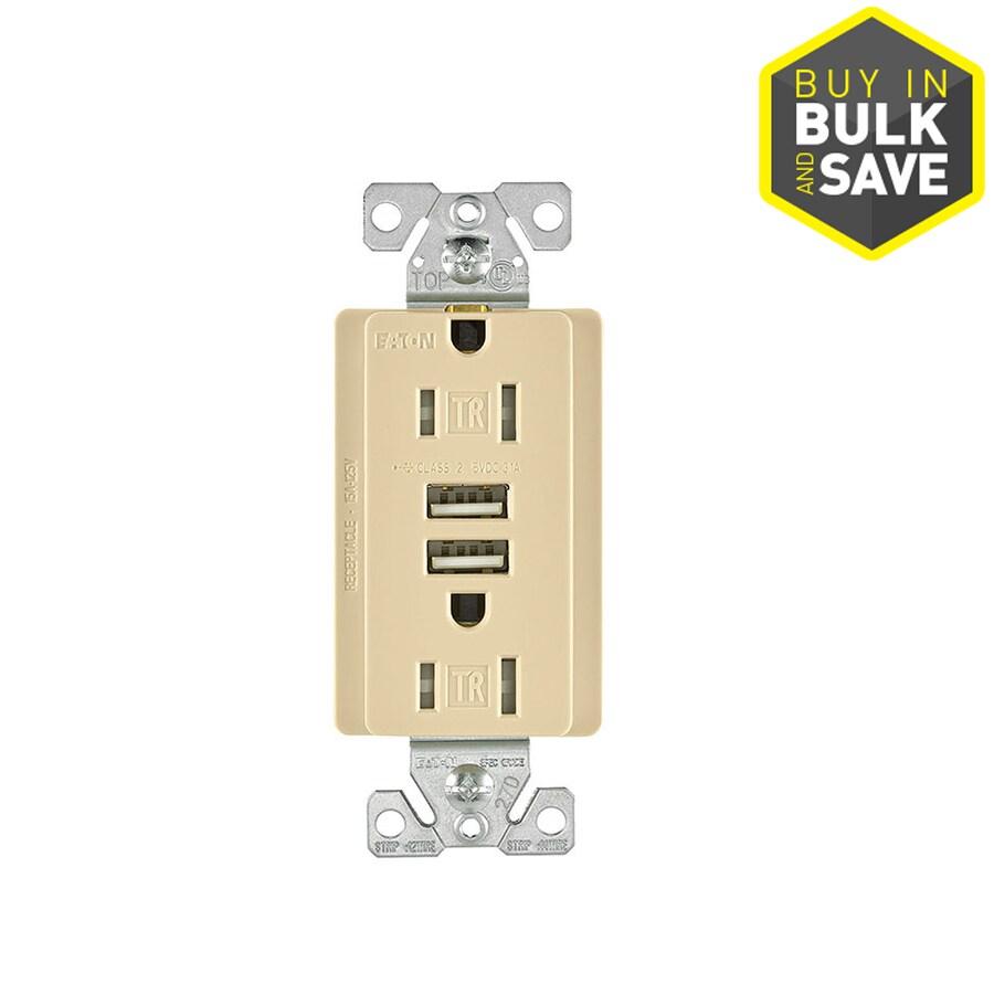 Eaton 15-Amp 125-Volt Ivory Indoor Decorator Wall Tamper Resistant Outlet/USB