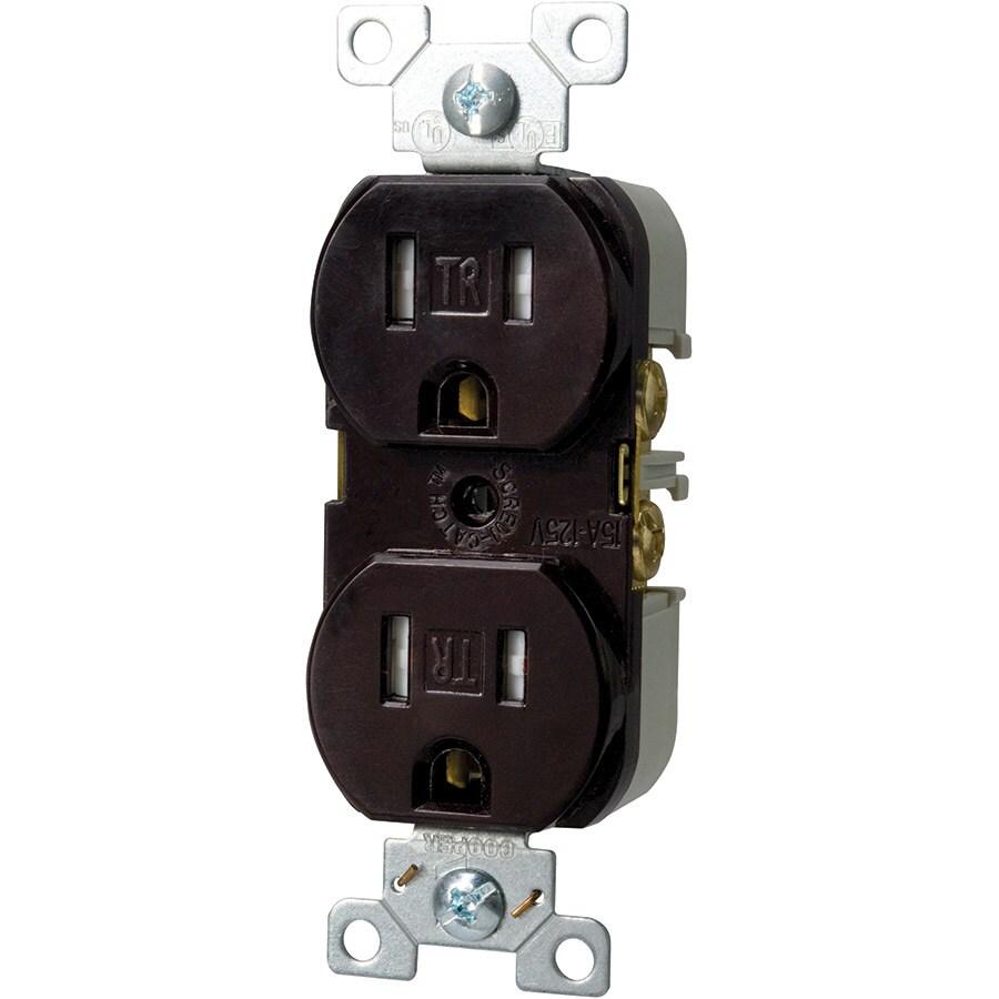 Eaton 15-Amp 125-Volt Brown Duplex Tamper Resistant Electrical Outlet