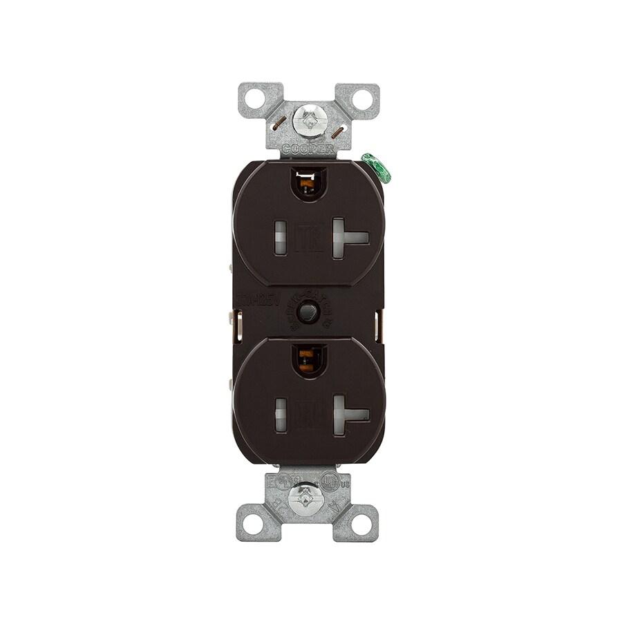 Eaton 20-Amp 125-Volt Brown Indoor Duplex Wall Tamper Resistant Outlet