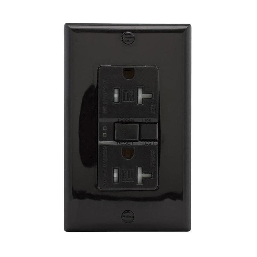Eaton 20-Amp 125-Volt Black Indoor GFCI Decorator Wall Tamper Resistant Outlet