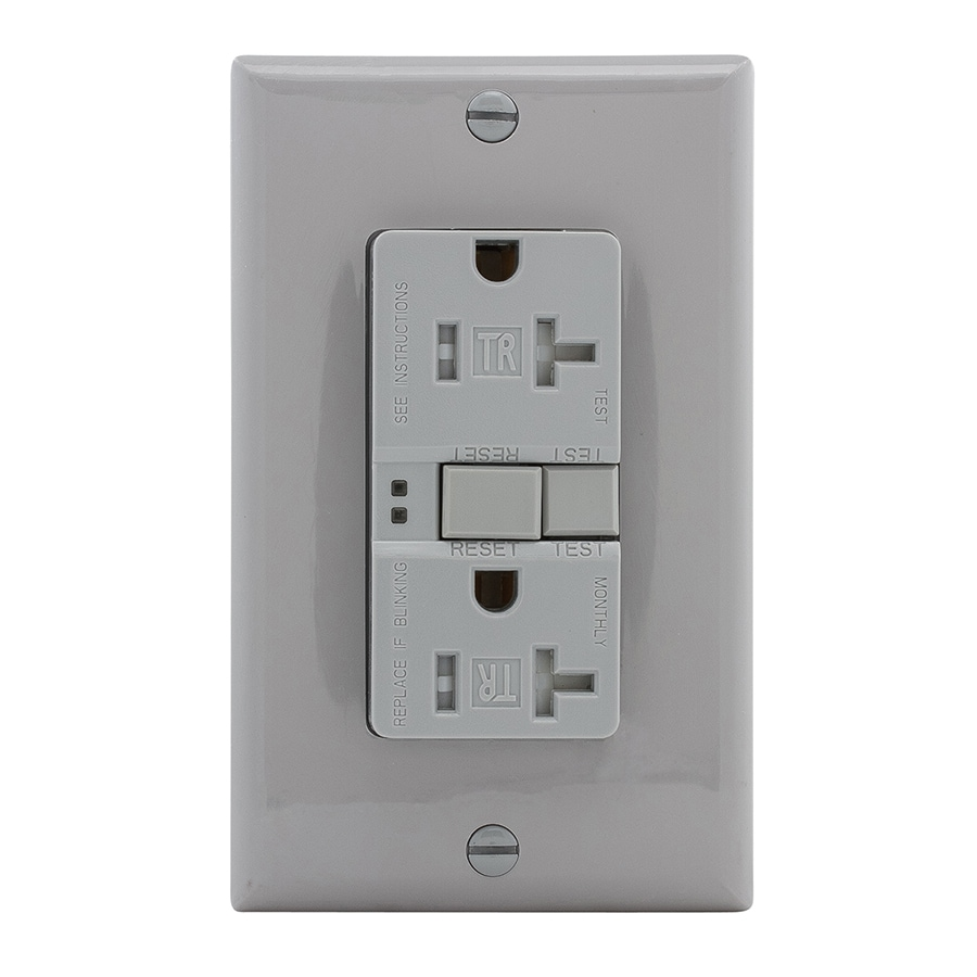 Eaton 20-Amp 125-Volt Gray Indoor GFCI Decorator Wall Tamper Resistant Outlet