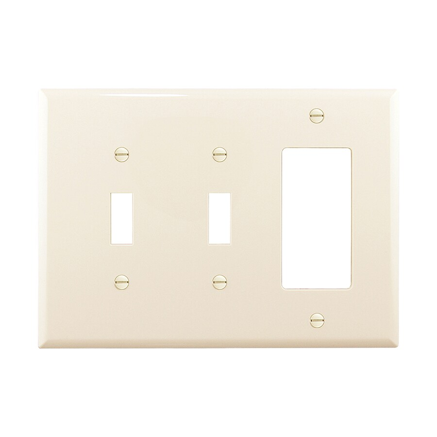 Eaton 3-Gang Light Almond Double Toggle/Decorator Wall Plate