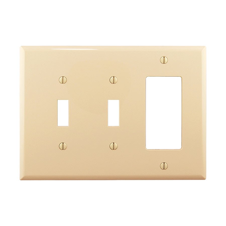 Eaton 3-Gang Ivory Double Toggle/Decorator Wall Plate