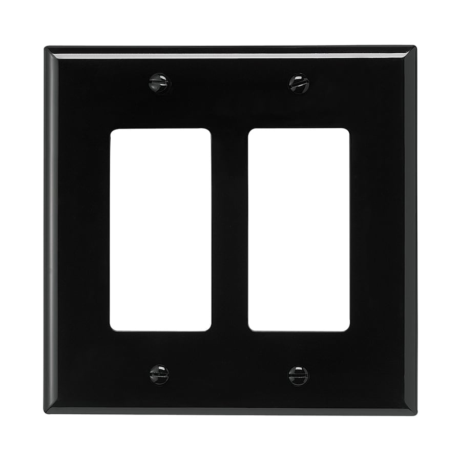 Eaton 2-Gang Black Double Decorator Wall Plate