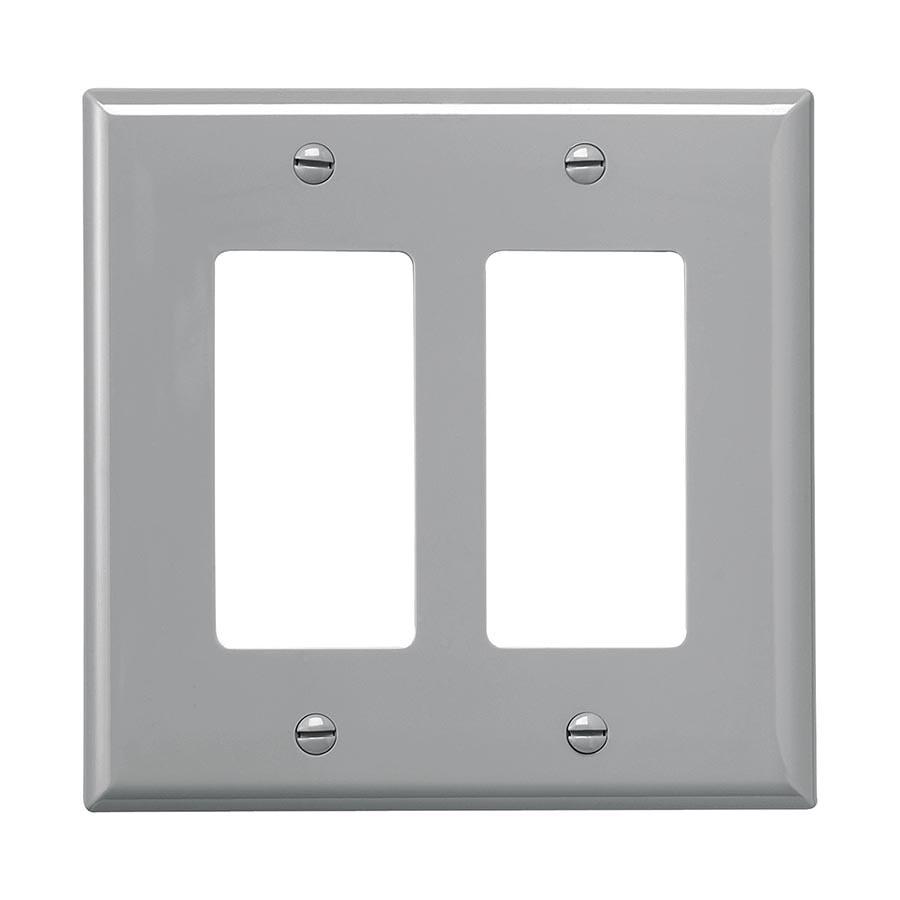 Eaton 2-Gang Gray Double Decorator Wall Plate