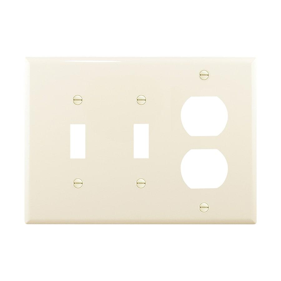 Eaton 3-Gang Light Almond Double Toggle/Duplex Wall Plate