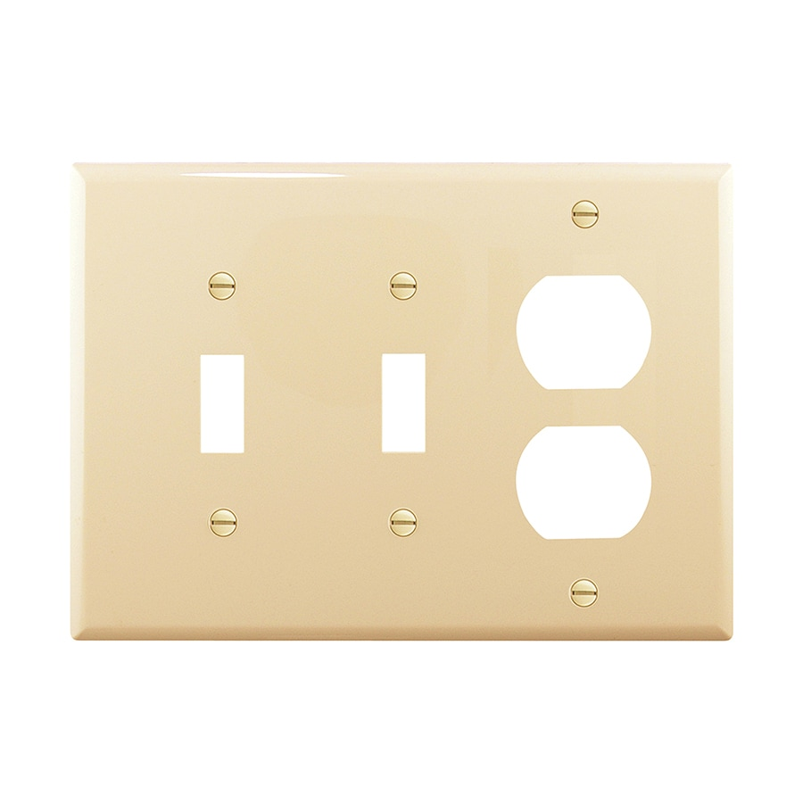Eaton 3-Gang Ivory Double Toggle/Duplex Wall Plate