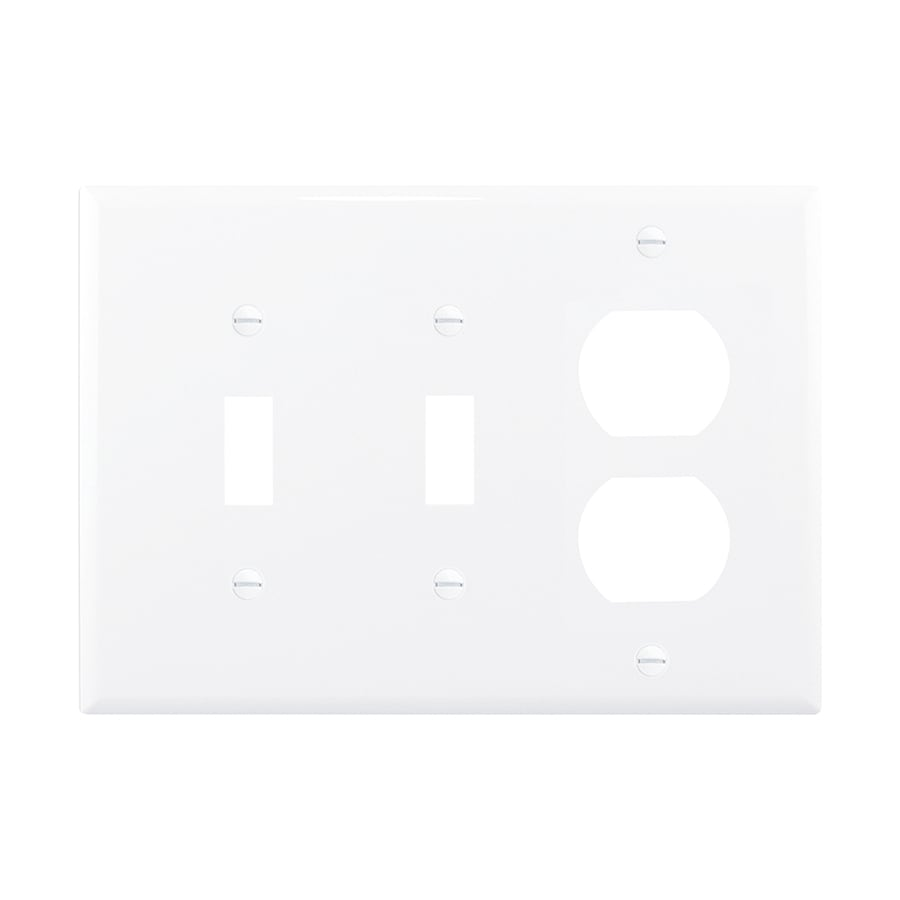 Eaton 3-Gang White Double Toggle/Duplex Wall Plate