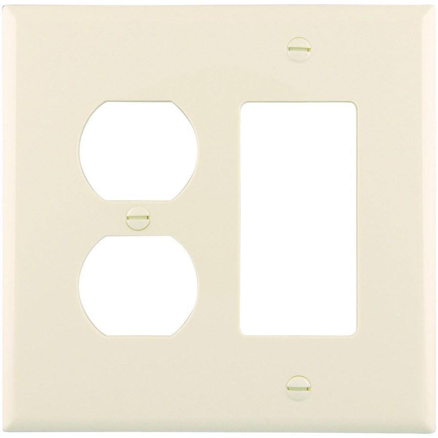 Eaton 2-Gang Light Almond Single Duplex/Decorator Wall Plate