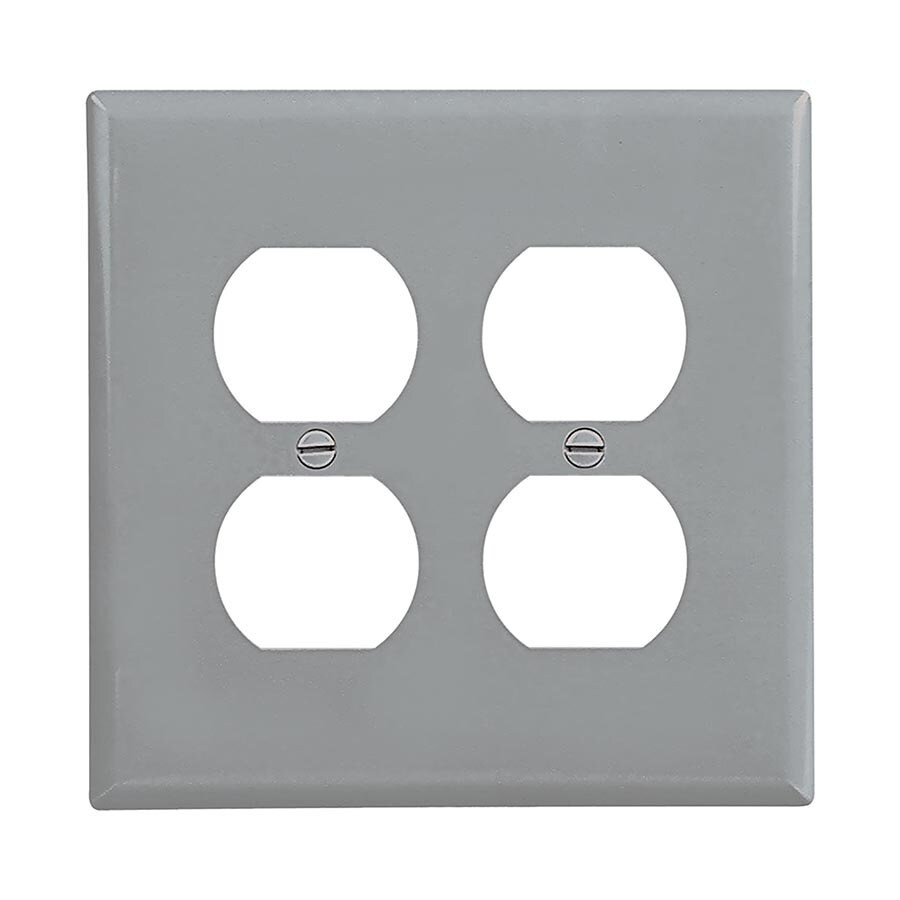 Eaton 2-Gang Gray Double Duplex Wall Plate