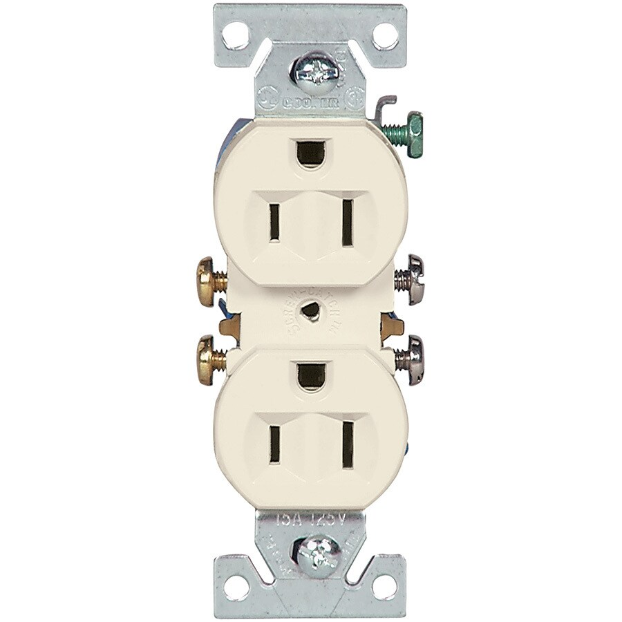 Eaton 15-Amp 125-Volt Light Almond Indoor Duplex Wall Outlet