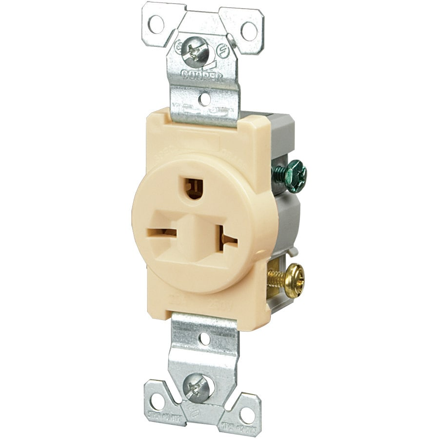 Eaton 20-Amp 250-Volt Ivory Electrical Outlet