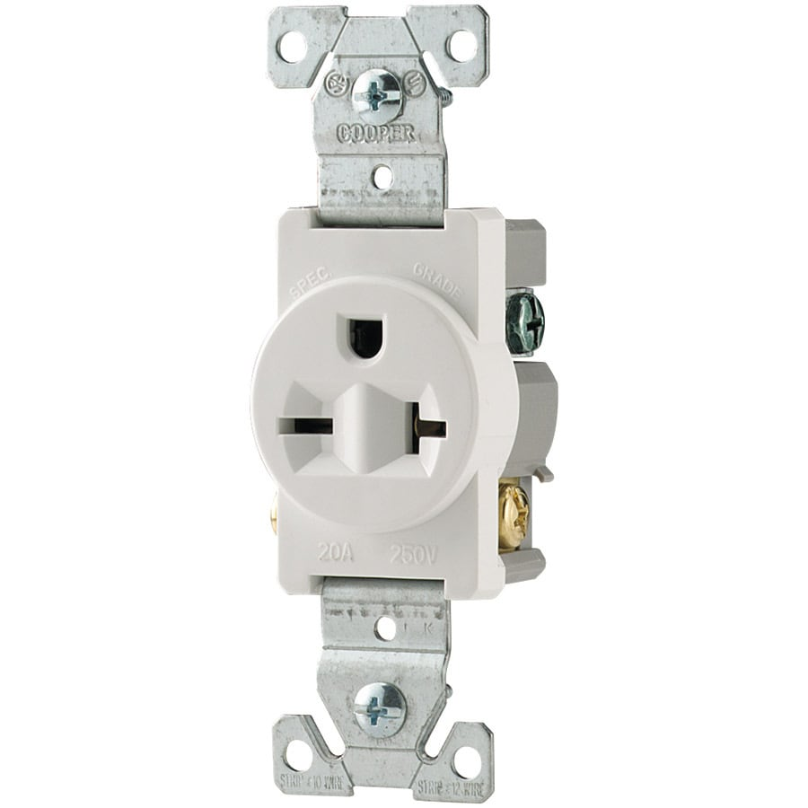 Eaton 20-Amp 250-Volt White Indoor Round Wall Outlet