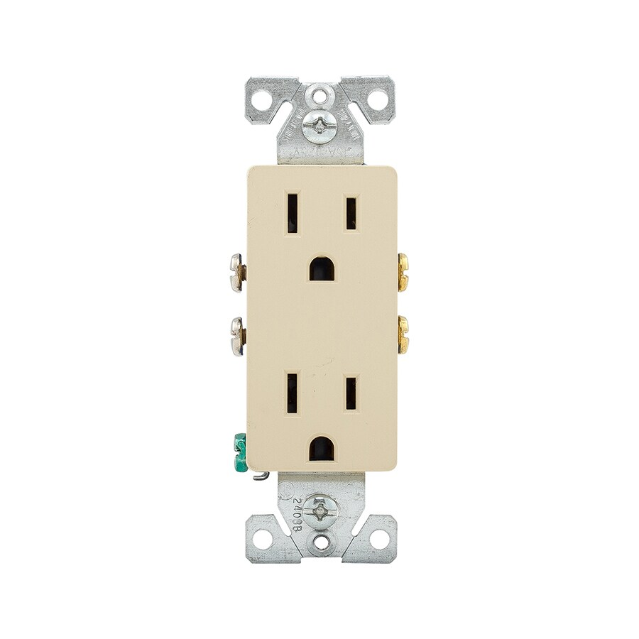 Eaton 15-Amp 125-Volt Ivory Indoor Decorator Wall Outlet