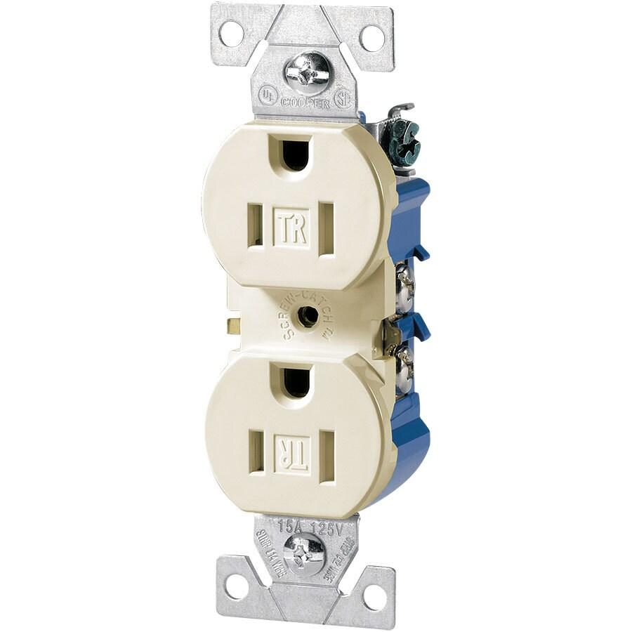 Eaton 15-Amp 125-Volt Ivory Indoor Duplex Wall Tamper Resistant Outlet