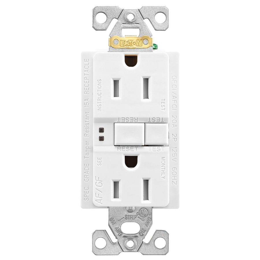 Shop Eaton White 15 Amp Decorator Outlet Gfci Protection Afci Groundfault Circuit Interrupter Residential