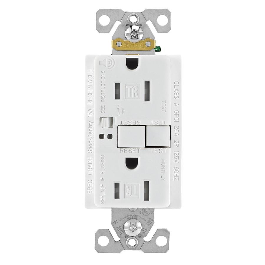 Eaton 15-Amp 125-Volt White Indoor GFCI Decorator Wall Tamper Resistant Outlet