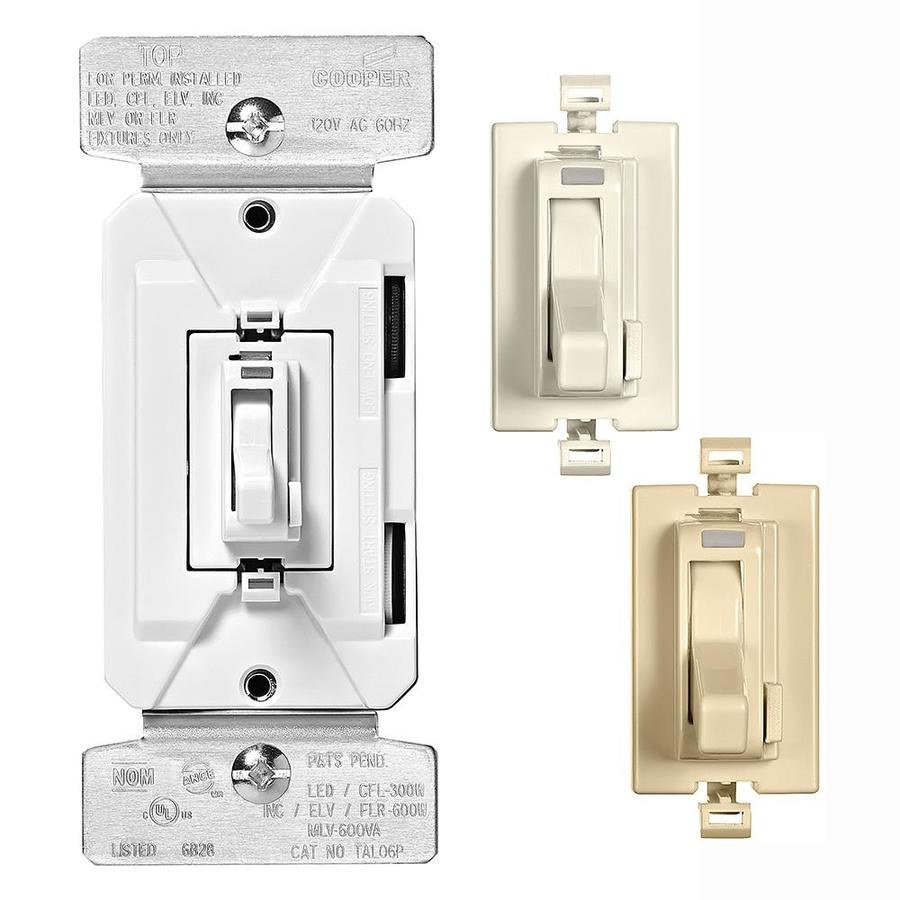 Eaton 600 Watt Single Pole 3 Way La Iv Wh Compatible With Led Dimmer Switch