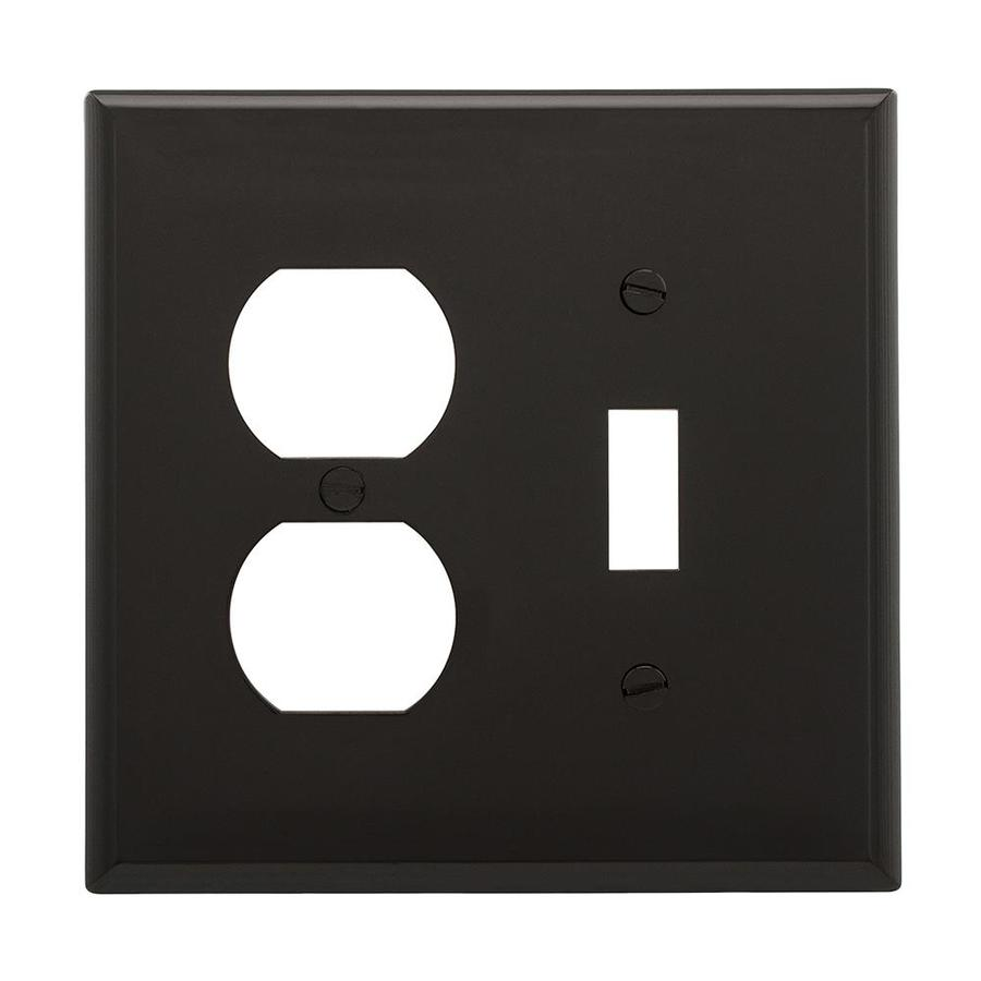 Eaton 2-Gang Black Double Toggle/Duplex Wall Plate